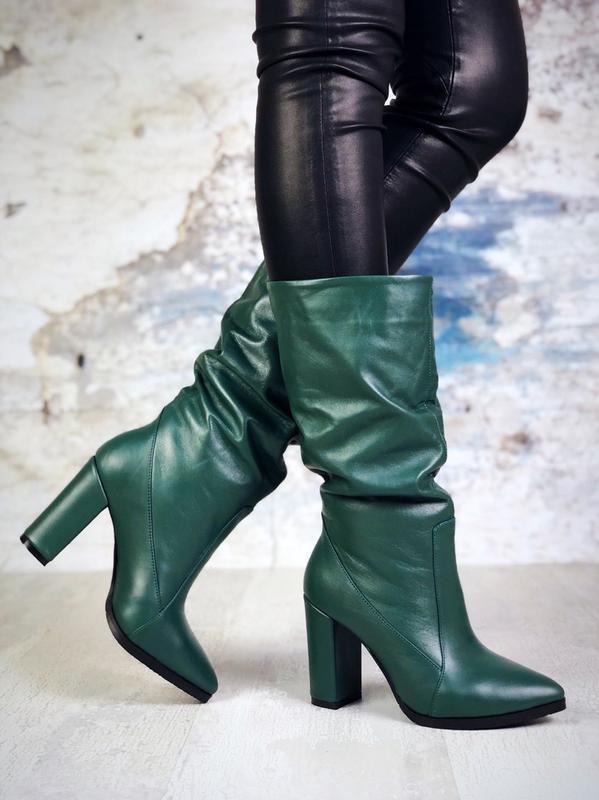 ❤ женские изумрудные осенние кожаные ботинки сапоги полусапожк...