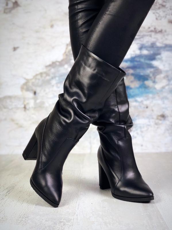 ❤ женские черные осенние кожаные ботинки сапоги полусапожки бо...