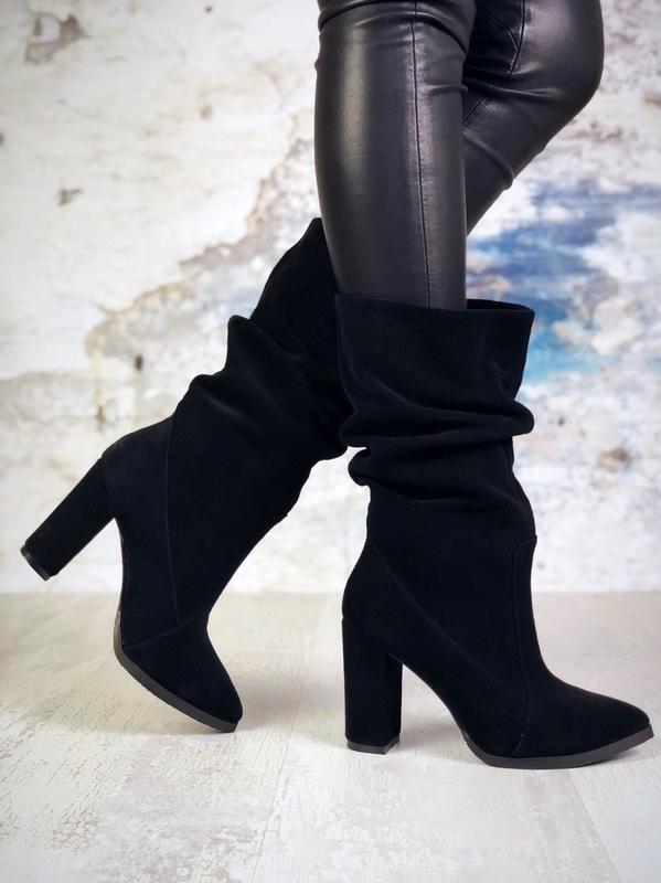 ❤ женские черные осенние замшевые ботинки сапоги полусапожки б...