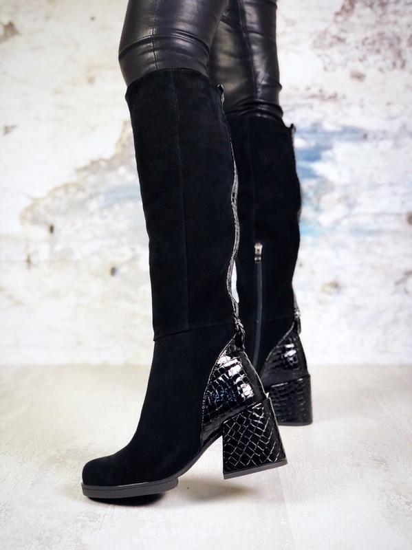 ❤ женские черные осенние демисезонные замшевые высокие сапоги ...