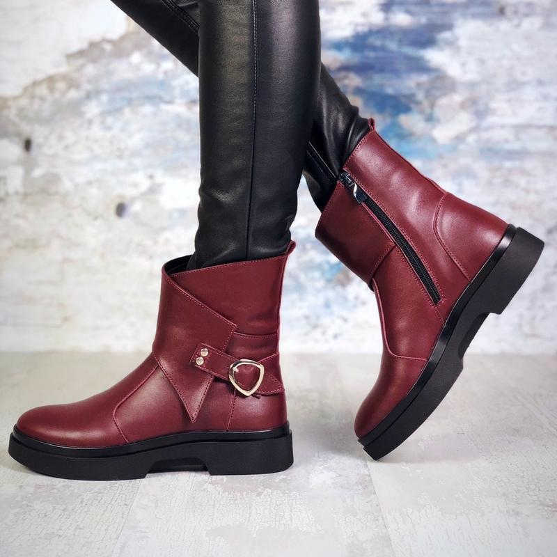 ❤ женские бордовые зимние кожаные ботинки сапоги полусапожки б...