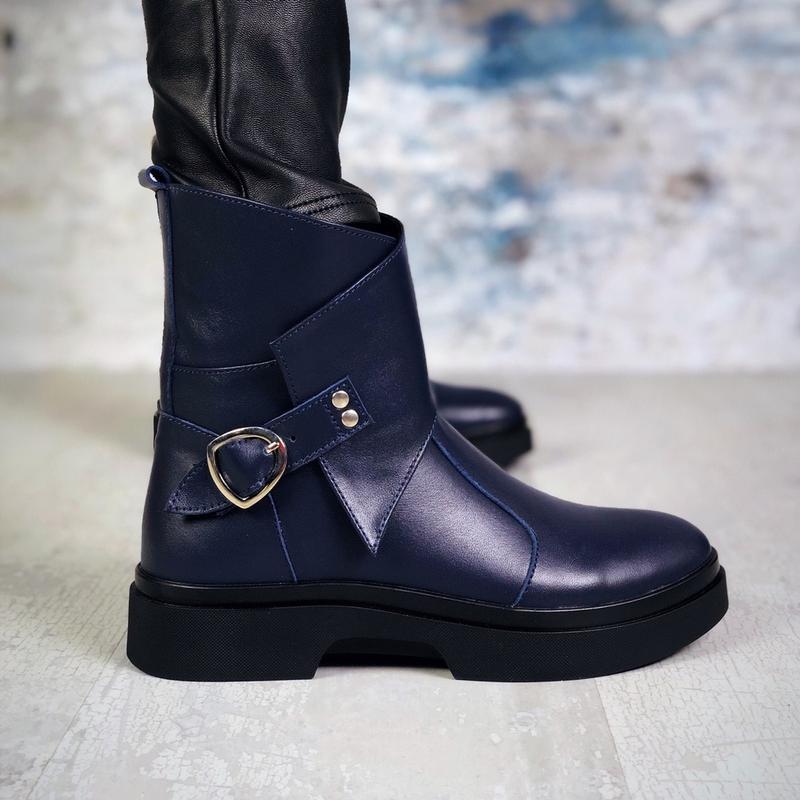 ❤ женские синие зимние кожаные ботинки сапоги полусапожки боти...