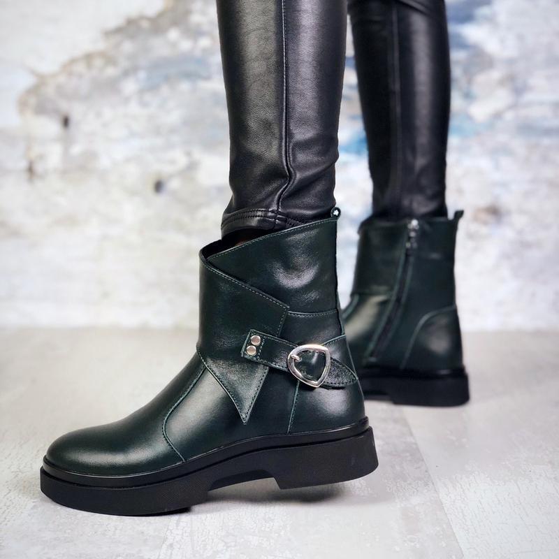 ❤ женские изумрудные зимние кожаные ботинки сапоги полусапожки...