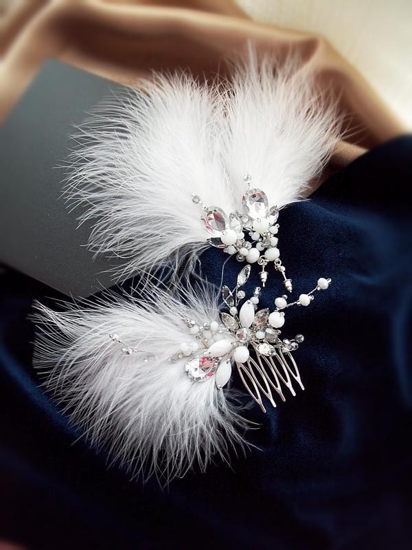 Крила ангела - гребінь та сережки з пір'ям марабу, безкоштовна...