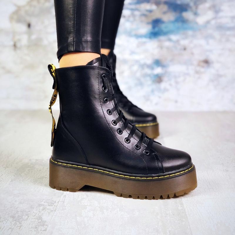 ❤ женские черные зимние кожаные ботинки dr. martens сапоги бот...