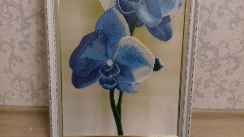 Картина вышита бисером синие орхидеи голубые цветы орхидея в рамк - Фото 5