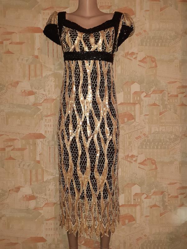 Эксклюзивное ретро платье зи кружева в пайетки чёрное с бежевым