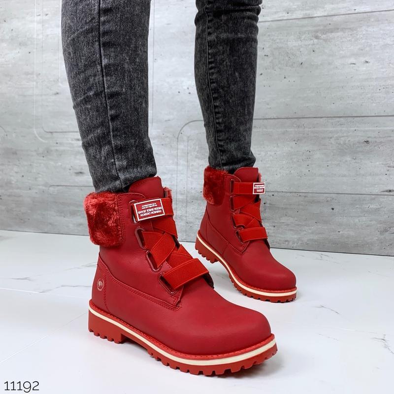❤ женские красные зимние  ботинки сапоги полусапожки ботильоны...