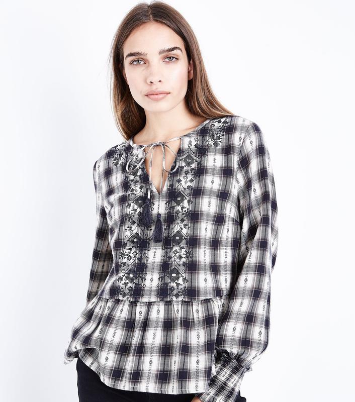Рубашка с вышивкой new look хлопковая блузка в клетку блуза с ...