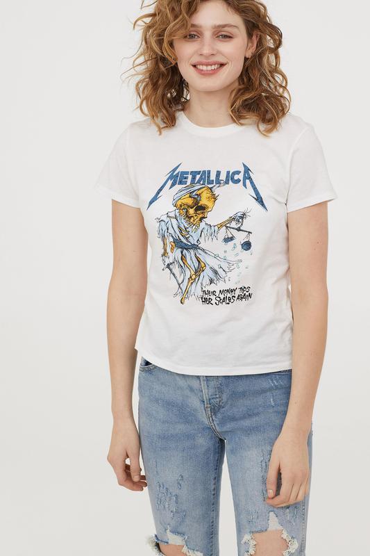 Хлопковая белая футболка с принтом metallica their money tips ...