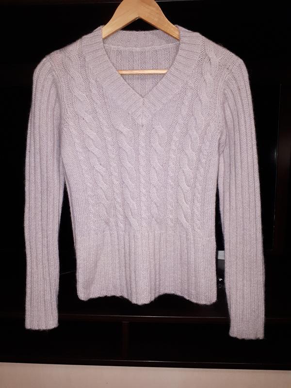 Тёплый пудровый свитер в косы с махрой раз.s/m