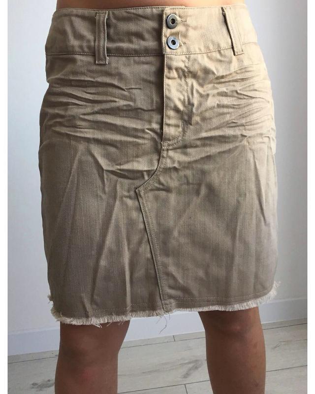 Спідниця бежева, джинсова, made in italy, бежевая юбка.