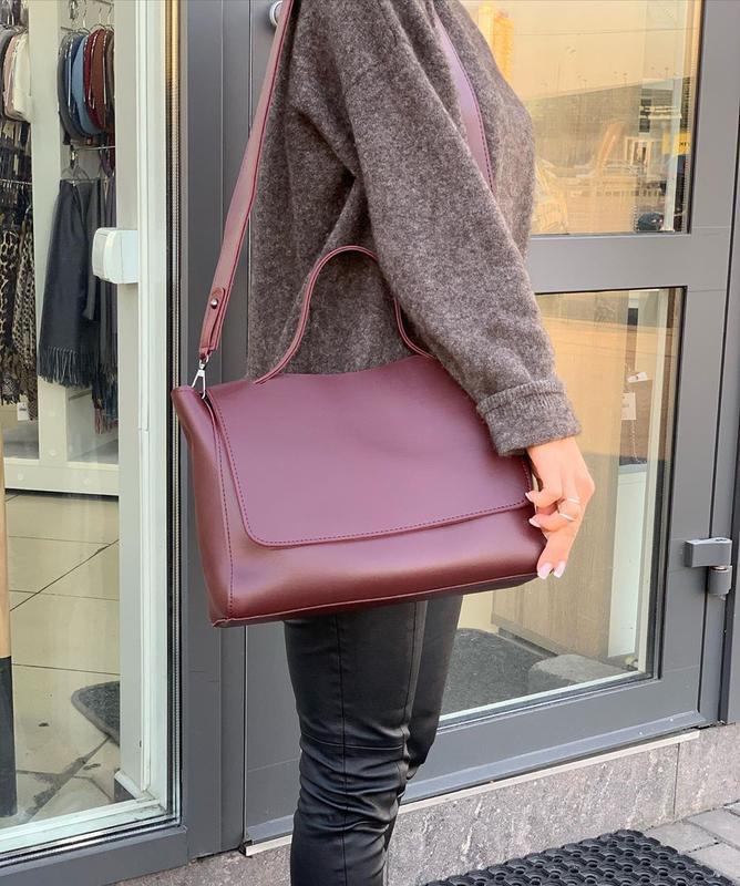 6 цвета! бордовая классическая сумка с широким ремешком
