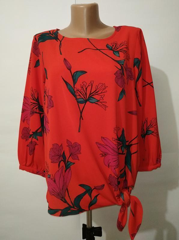 Новая красная шикарная блуза в цветы debenhams uk 10/38/s