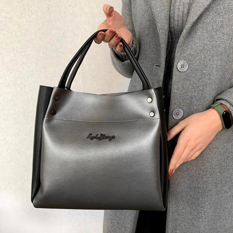 Серебренная сумка классическая металлик