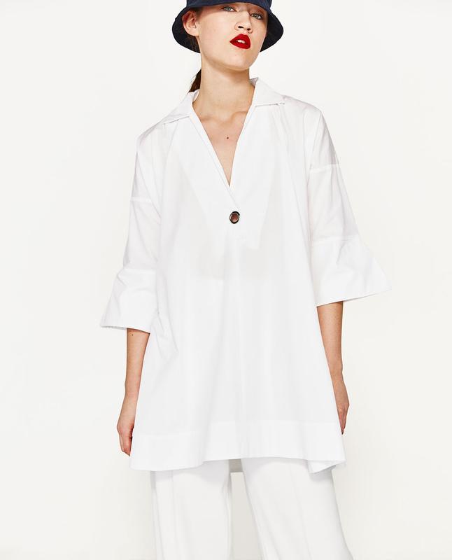Шикарное белое платье рубашка zara new collection
