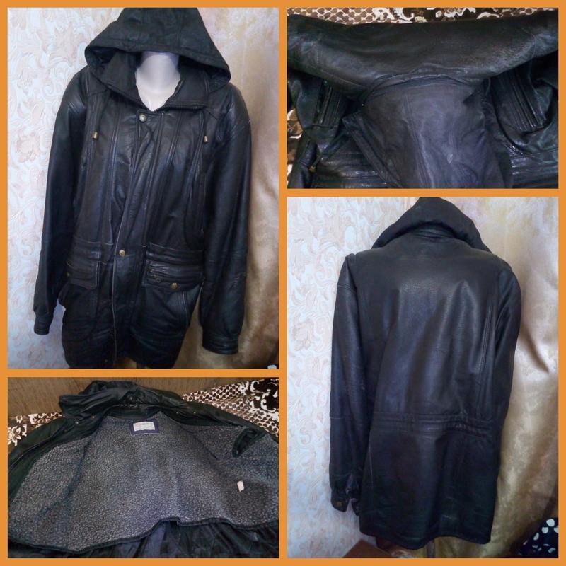 Куртка мужская черная натуральная кожа, 52-54