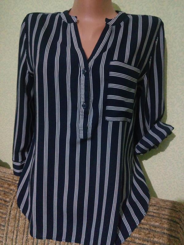 Вискозная блуза блузка в полоску primark