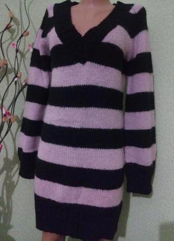 Вязаное платье туника m-l,44-46 длинный свитер