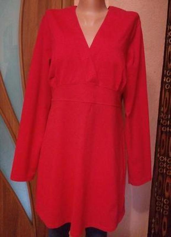 Яркое трикотажное платье-туника из вискозы большого размера 50-52