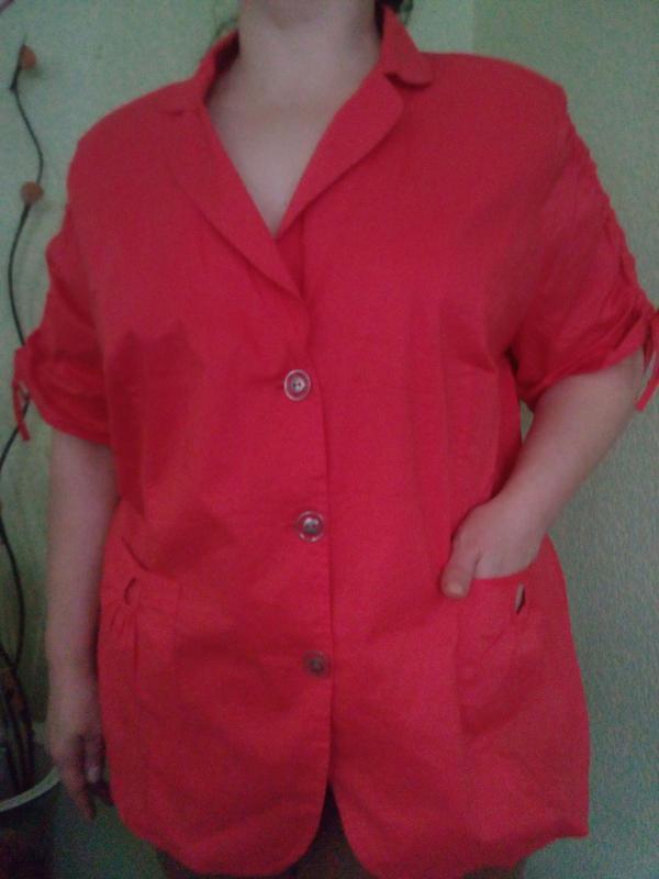 Летняя хлопковая блуза жакет большого размера 56-58