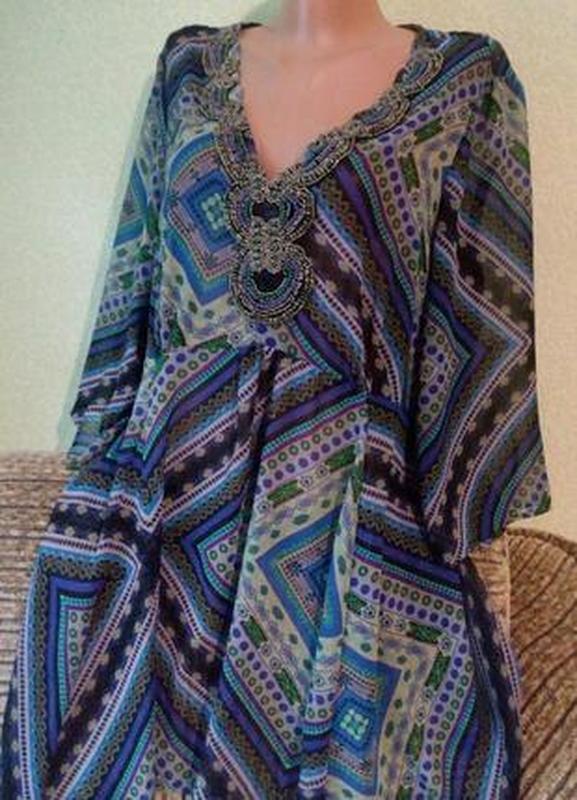 Летнее воздушное платье туника с декором большого размера - Фото 2