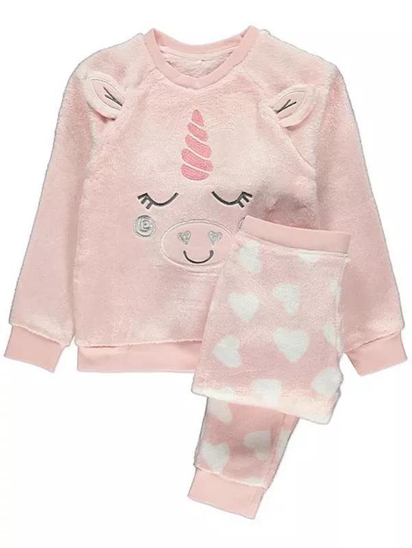 Пижама флисовая плюшевая для девочки единорог от 5 до 13 лет. код