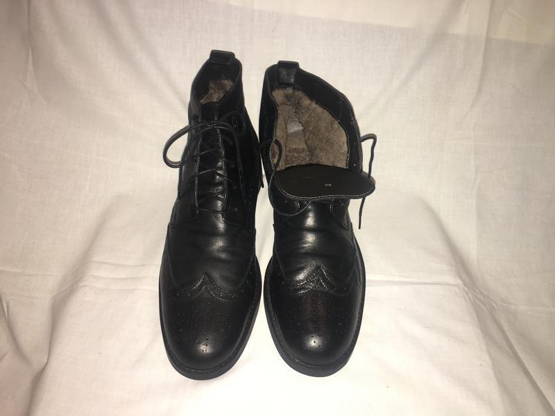 Ботинки-оксфорды кожа+натуральный мех германия р.44 (29.00 см)