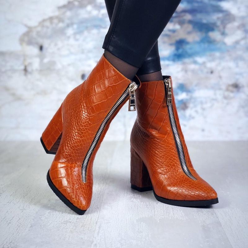 ❤ женские рыжие зимние кожаные ботинки сапоги полусапожки боти...