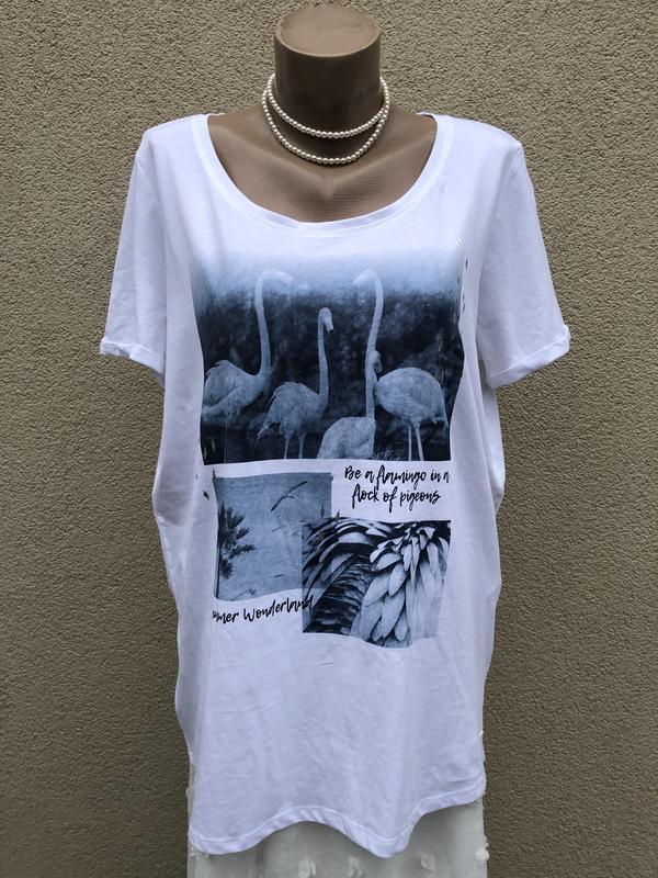 Белая футболка,принт по груди,большой размер,хлопок