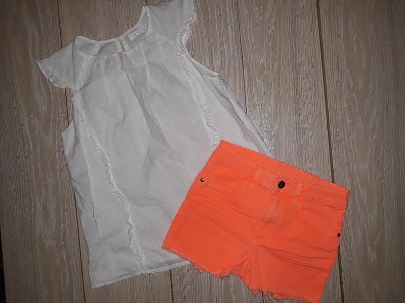 Яркие джинсовые шорты h&m на 10-11 лет