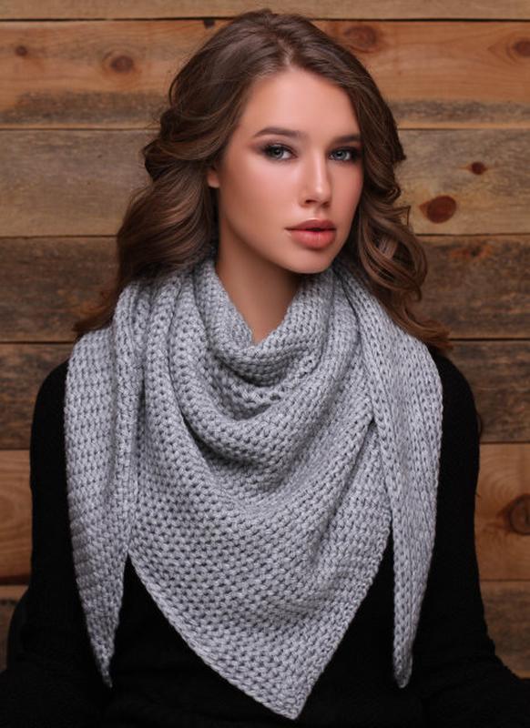 Вязанная косынка-шарф, теплая