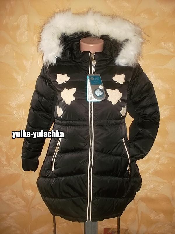 Зимняя удлиненная куртка с капюшоном листочки рр. 140, 160