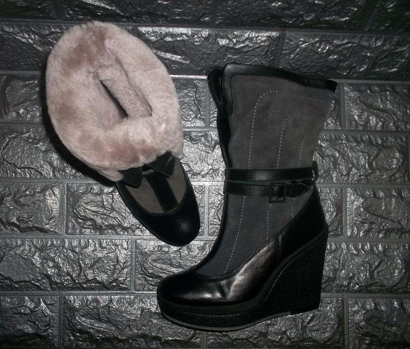Кожаные ботинки полусапожки на танкетке кожа+замша+овчина