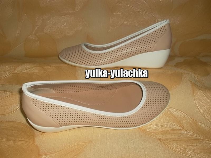 Комфортные туфли балетки на невысокой танкетке рр. 36, 37