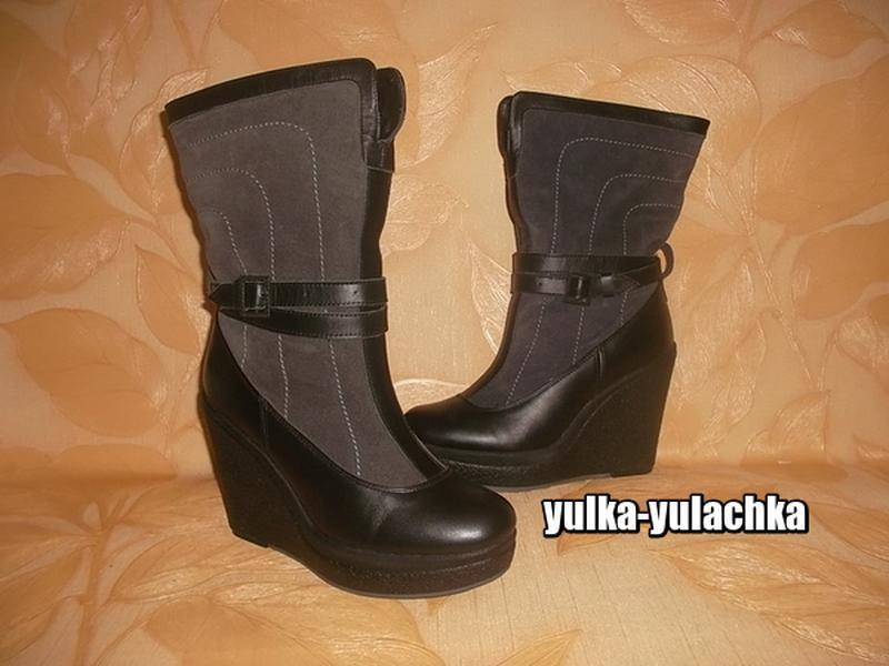 Кожаные сапоги ботинки полностью натуральные: кожа+замша+овчин...