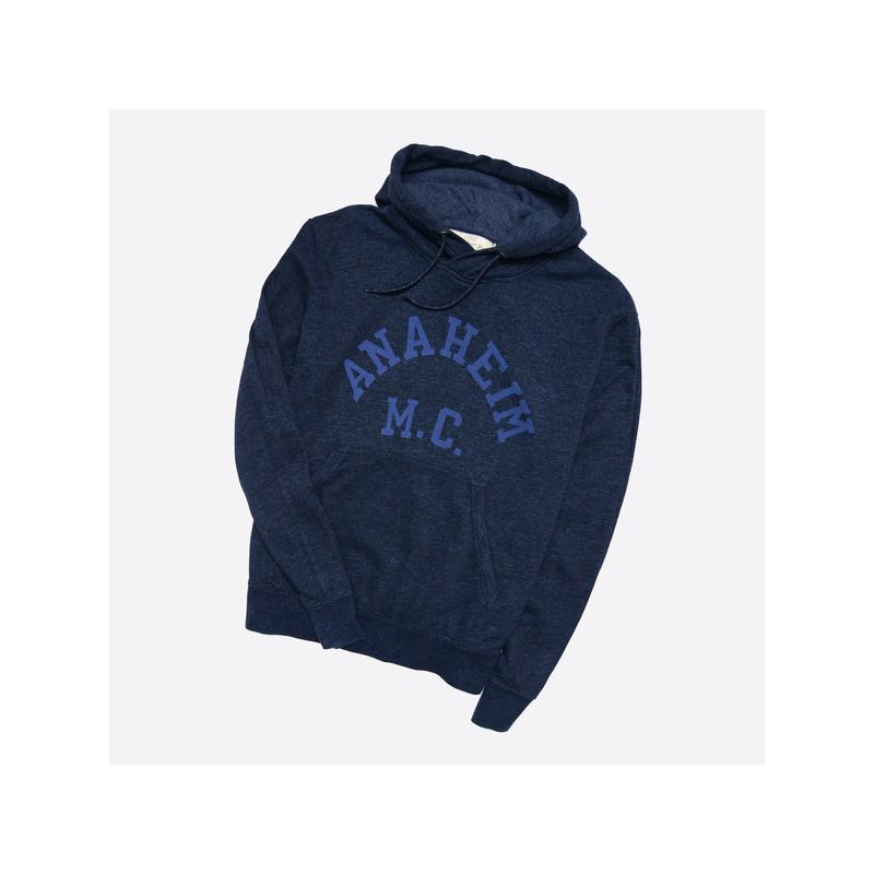 H&m l / мужской тёмно-синий худи с принтом