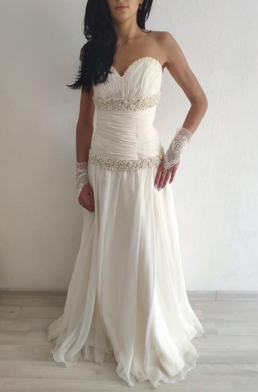 Весільне плаття свадебное платье айвори с жемчугом и камушками