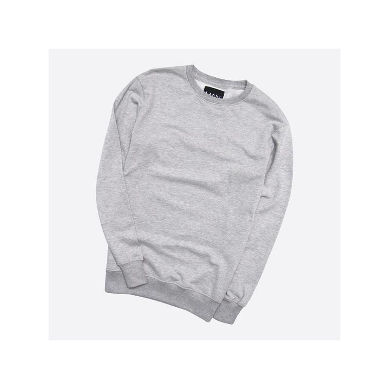 Boohoo m / мужской лёгкий серый базовый свитшот