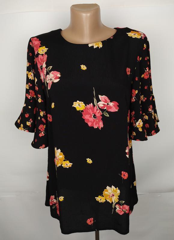 Блуза вискозная красивая в цветочный принт monsoon uk 12/40/m