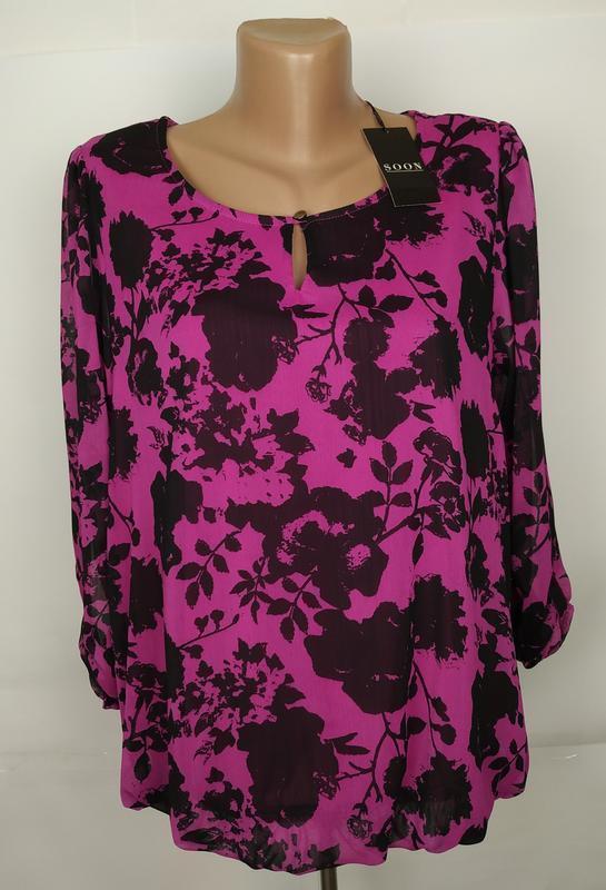 Блуза новая шикарная в принт uk 12/40/m