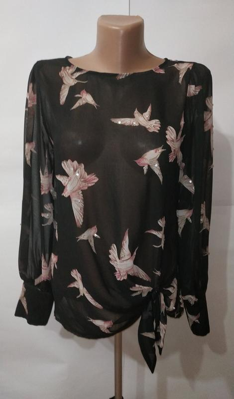 Модная блуза с птичками в паетки new look uk 10/38/s