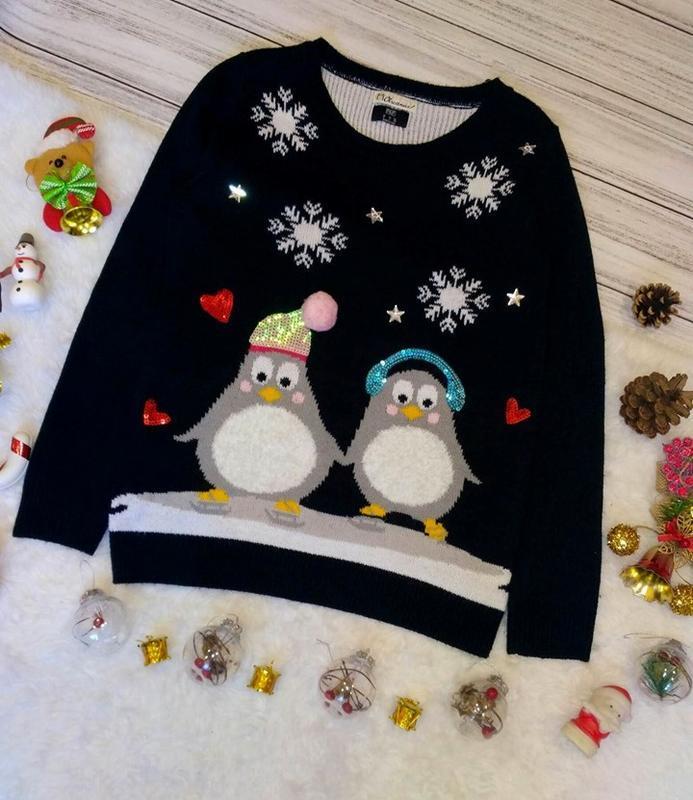 Крутой новогодний свитер с пингвинами в снежинки размер 8-10(3...