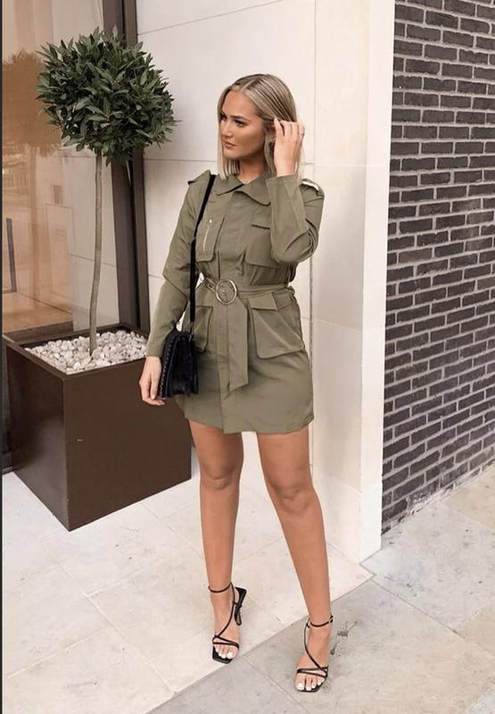 Платье рубашка хаки в милитари стиле новое состояние размер м