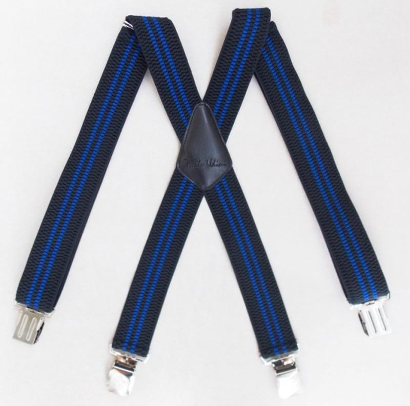 Широкие мужские подтяжки paolo udini черно-синие