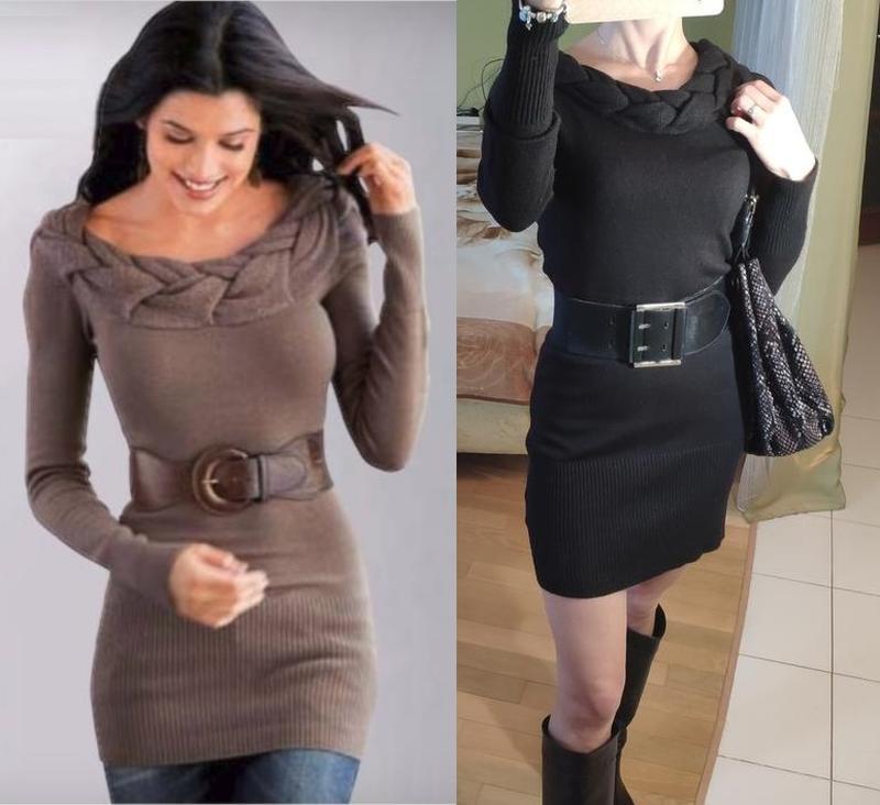 Трикотажное черное платье на плечи в рубчик вязаное с косами т...