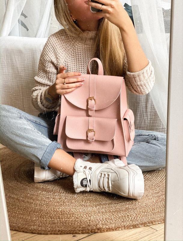 Розовый городской рюкзак с карманами пудровый