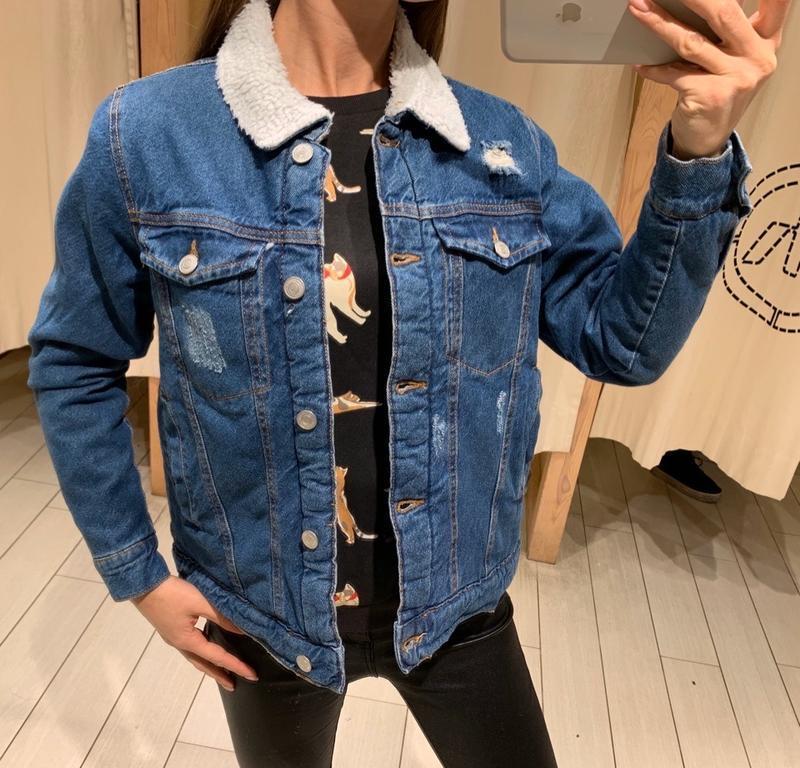 Утеплённая джинсовая куртка шерпа джинсовака на меху house ест...
