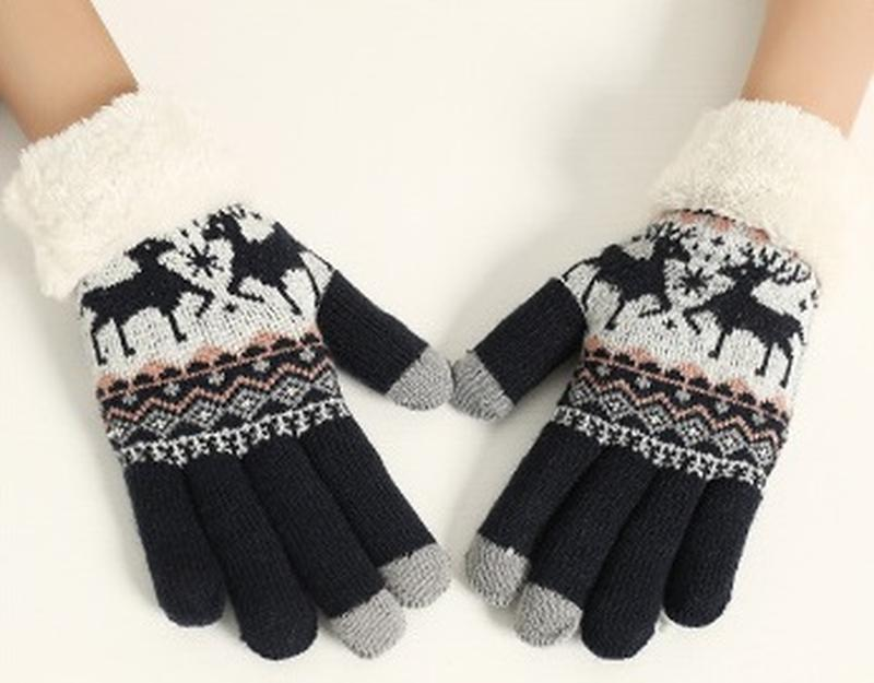 7-53 теплые перчатки touch screen с оленями рукавички