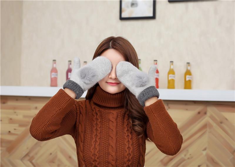 7-58 теплые вязаные варежки рукавички